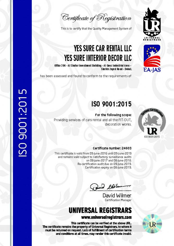 YES SURE CAR RENTAL LLC - 24603 (9001)